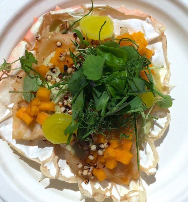 """Grilled King crab """"Yakatori style"""" With Dutch sour, cream of kaffir lime and summer herbs from Luté"""