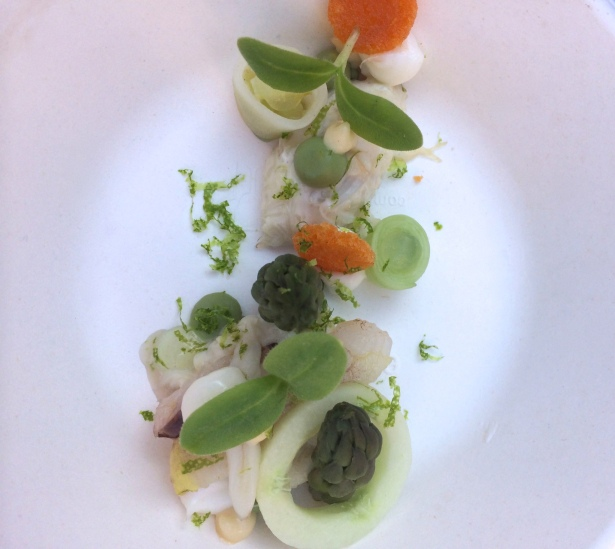 North Sea crab salad with green apple, lime, cucumber avocado cream and toast